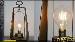 Lampe d'appoint en métal style lanterne de marin, finition effet bronze ancien 41cm
