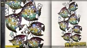 Décoration murale en fer forgé banc de poissons