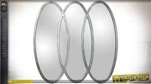 Miroir design en métal doré à 3 ovales verticaux entrelacés 83 cm