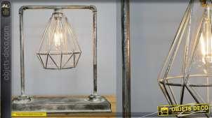 Eclairage d'appoint en métal, style ancienne canalisation, finition blanchie, sur batterie