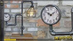 Luminaire secondaire et horloge de table, en bois et métal style ancienne canalisation, fonctionnant sur batterie