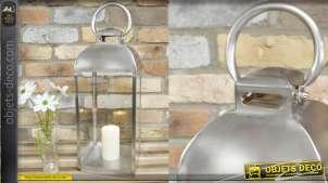 Grande lanterne en métal finition chromé, style moderne et épuré, 60cm de haut