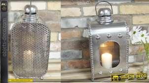 Lanterne de style industriel et rétro métal argenté 52 cm
