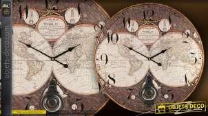 Horloge murale mappemonde vintage 58 cm