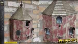 Nichoir à oiseau collection Villa de Luxe, en métal, modèle mural 47cm