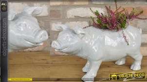 Pot de fleur en forme de petit cochon en céramique  finition blanche craquelée bleue