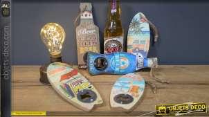 Série de 5 décapsuleurs muraux, thème plage et cocktails, 18cm de hauteur