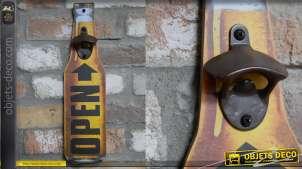 Décapsuleur mural en forme de grande bouteille bière, inscription Open, 40cm