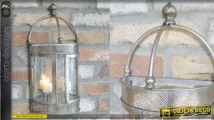 Demi-lanterne murale en métal, finition acier ancien, forme couronne 46 cm
