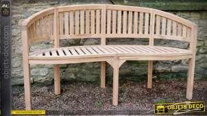 Grand banc en teck naturel avec assise semi-circulaire 146 cm