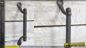 Grande poignée en métal style vieille fonte, 27cm de longueur finale