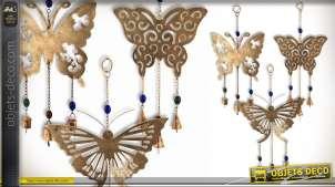 Lot de 3 décorations à suspendre Papillons en métal