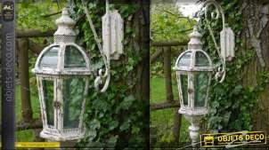 Lanterne vintage avec potence en métal beige vieilli 86 cm