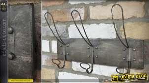 Porte-manteaux à 3 patères doubles de style vintage et indus