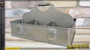 Casier porte bouteille en métal type inox vieilli avec poignée de transport 35cm