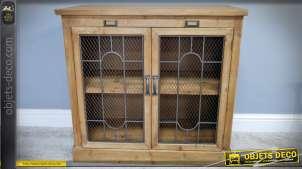 Buffet bas rustique à deux portes grillagées en bois massif et métal