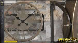 Horloge inclinable en métal, modèle mural finition cuivré mat, chiffres romains, 50cm