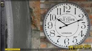 Horloge murale en métal, finition blanc, style gros chronomètre rétro 60cm