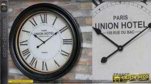 Grande horloge murale ronde, style rétro avec encadrement noir et doré ancien, 78cm