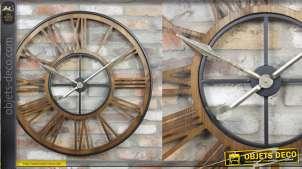 Horloge murale en bois et métal, style moderne contrasté, chiffres romains et aiguilles dorées