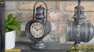 Horloge à poser en forme d'ancienne lanterne de chemin de fer, en métal, 29cm