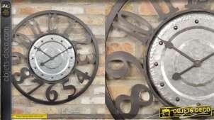 Horloge murale en métal, style industriel esprit enjoliveur de voiture, finition noir et alu, 70cm