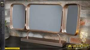 Grand miroir de table vintage en triptyque en métal finition vermeil 68 cm