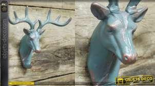 Crochet mural en métal en forme de tête de cerf style trophée, finition turquoise et cuivré