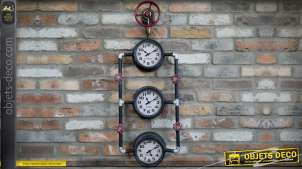 Horloge à 3 cadrans en forme de circuit de plomberie industrielle 90 cm