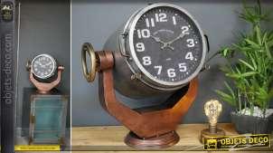 Horloge à poser XXL en forme de projecteur de marine sur socle 45 cm