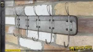 Porte manteau mural en métal de style industriel authentique, rivets apparents 51cm