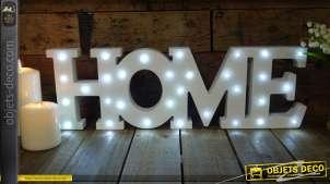 Décoration murale ou à poser, HOME lumineux en bois finition blanc, 31 LED
