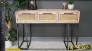 Console en bois de sapin, métal et rotin, inspiration années 50 finition moderne