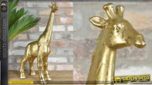 Girafe en céramique, finition doré ancien, hauteur finale de 58cm, style tour du monde