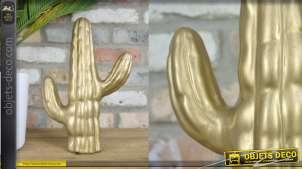 Cactus en céramique, déco moderne à poser, finition doré ancien, 31 cm