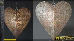 Gros coeur en métal suspendu, découpe moucharabieh finition argent, pour bougie type chauffe plat
