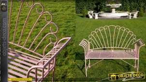 Banc de jardin en métal finition rose ancien, modèle dit Roue du paon, 125cm