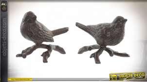 Série de deux oiseaux en fonte finition vieux métal, objet décoratif de jardin, 12cm