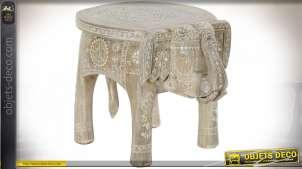 TABLE AUXILIAIRE MANGUE 47X34X36 ÉLÉPHANT NATUREL