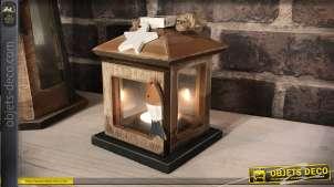 Petite lanterne déco en bois et verre style bord de mer 12,5 cm