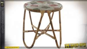 TABLE AUXILIAIRE SEAGRASS ROTIN 48X48X53 ROUGE
