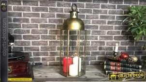 Lanterne hexagonale en métal doré design contemporain 69 cm