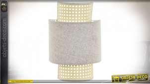 Applique lumineuse en rotin naturel et lin blanc, style rétro moderne avec finition claires, 34cm
