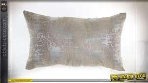 Coussin rectangulaire d'inspiration Art Déco, finition beige et traces dorées, 50x30cm