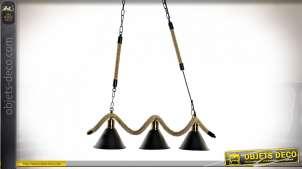 Suspension lumineuse en métal et corde de style industriel, esprit chaine et touches dorées cuivrées, 76cm