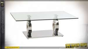 TABLE BASSE VERRE ACIER 130X70X42 1,2 MM. CHROME