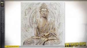 Grand tryptique en bois et toile représentant Bouddha en méditation, couleurs douces et chaleureuses, 120cm en trois parties