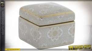 Boite à bijou en porcelaine blanche et motifs dorés brillants, ambiance rétro chic des années 50, 11x11cm