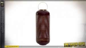Bougeoir -Vase en aluminium de style moderne contemporain finition dorée et grenat laqué, 58cm