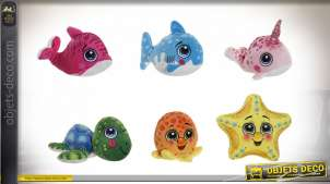 PELUCHE POLYESTER 14X14 ANIMAUX 6 MOD.